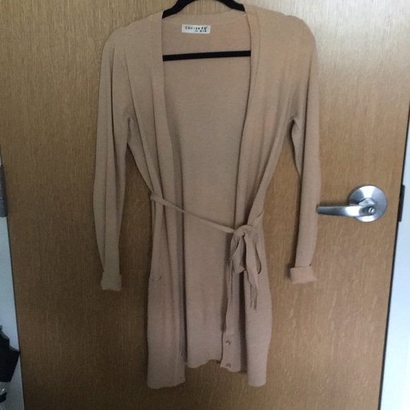 Amour Louise FD Sweaters - FROM ROME beige cardigan w/ optional tie size L/XL
